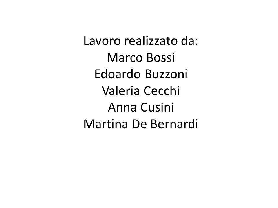 Lavoro realizzato da: Marco Bossi Edoardo Buzzoni Valeria Cecchi Anna Cusini Martina De Bernardi