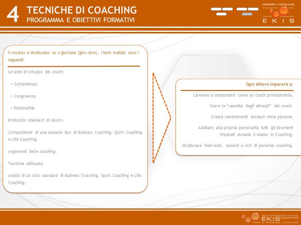 TECNICHE DI COACHING PROGRAMMA E Obiettivi formativi