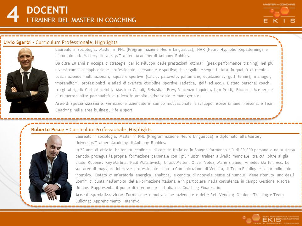 Docenti I trainer del master in coaching