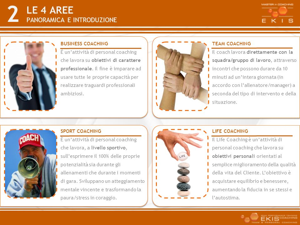 LE 4 AREE PANORAMICA E INTRODUZIONE BUSINESS COACHING