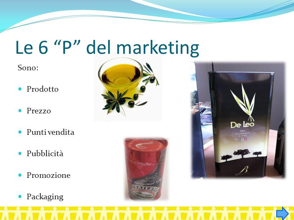 Le 6 P del marketing Sono: Prodotto Prezzo Punti vendita Pubblicità