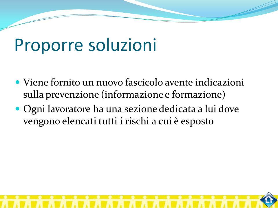 Proporre soluzioni Viene fornito un nuovo fascicolo avente indicazioni sulla prevenzione (informazione e formazione)
