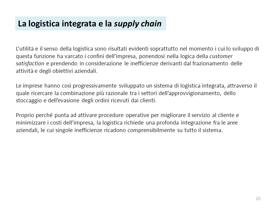 La logistica integrata e la supply chain