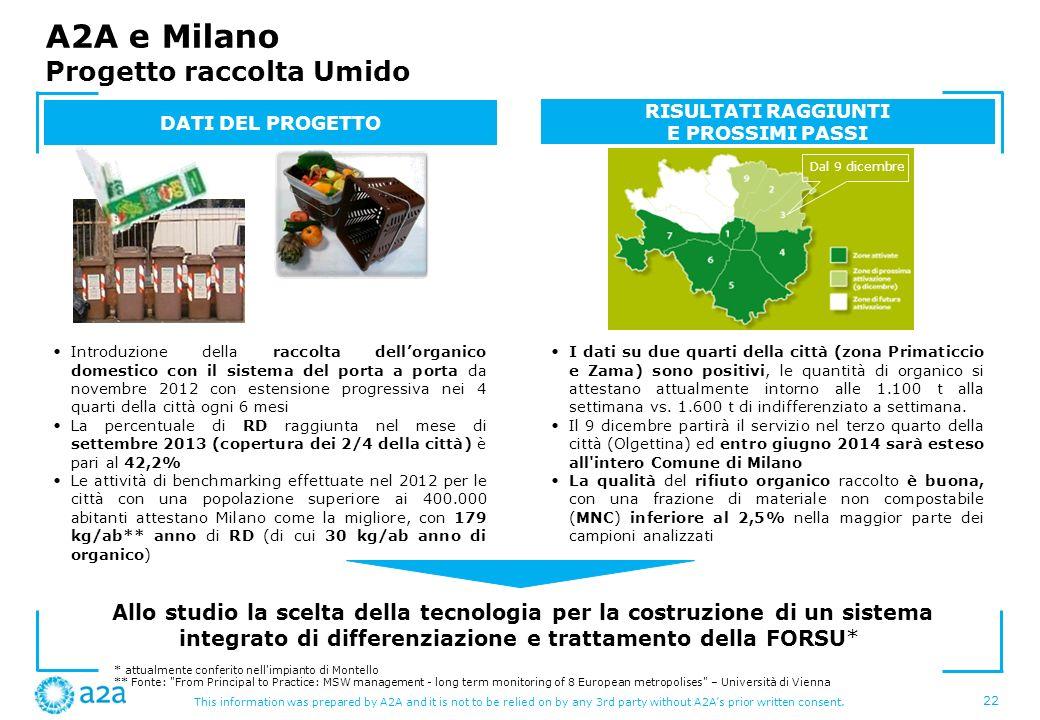 A2A e Milano Progetto raccolta Umido