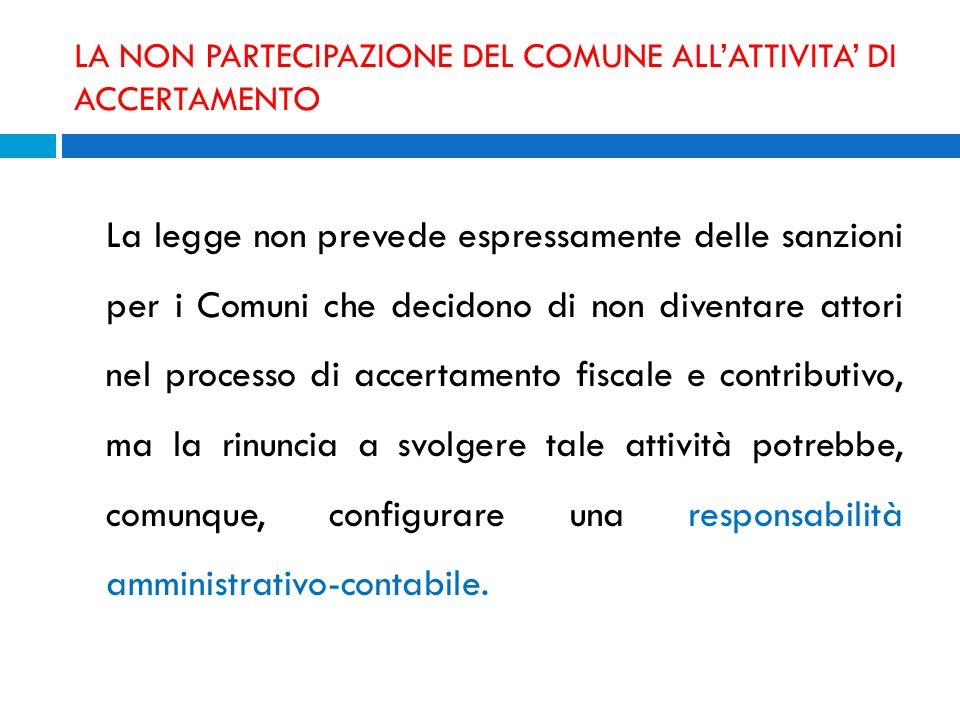 LA NON PARTECIPAZIONE DEL COMUNE ALL'ATTIVITA' DI ACCERTAMENTO