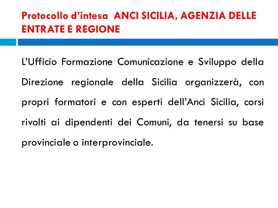 Protocollo d'intesa ANCI SICILIA, AGENZIA DELLE ENTRATE E REGIONE