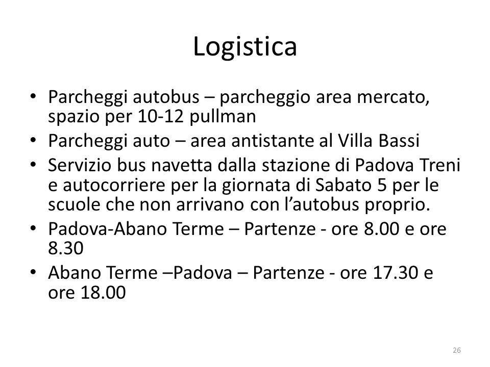 Logistica Parcheggi autobus – parcheggio area mercato, spazio per 10-12 pullman. Parcheggi auto – area antistante al Villa Bassi.