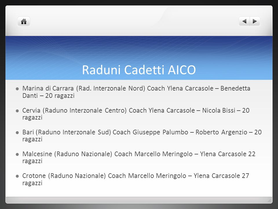 Raduni Cadetti AICO Marina di Carrara (Rad. Interzonale Nord) Coach Ylena Carcasole – Benedetta Danti – 20 ragazzi.