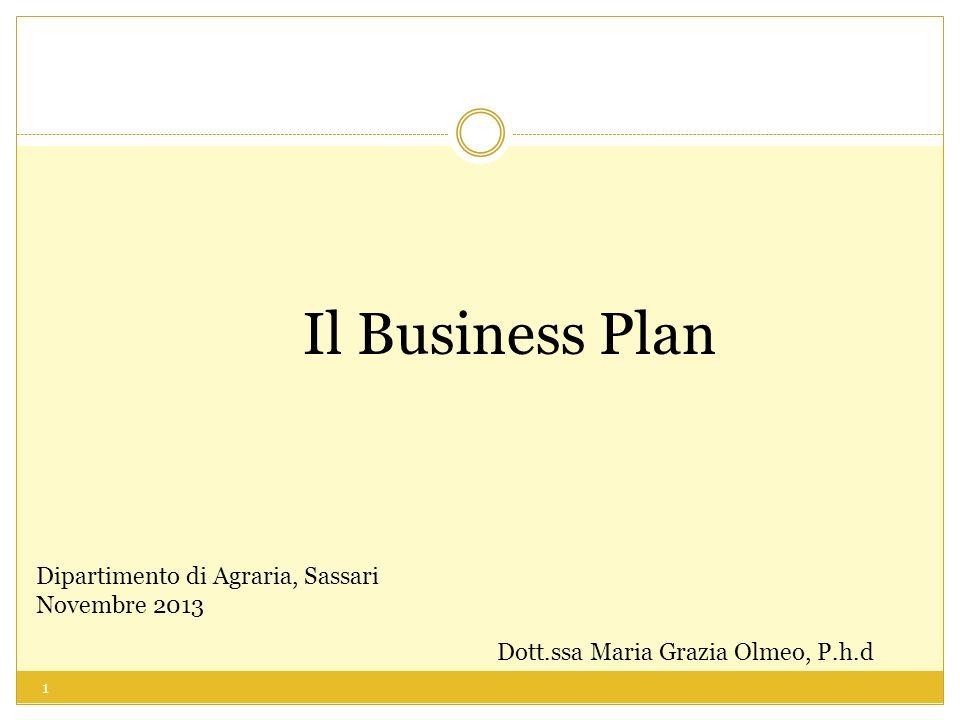 Il Business Plan Dipartimento di Agraria, Sassari Novembre 2013