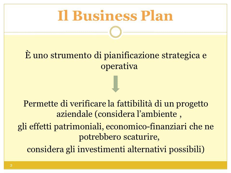 Il Business Plan È uno strumento di pianificazione strategica e operativa.