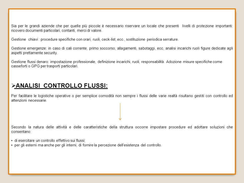 ANALISI CONTROLLO FLUSSI: