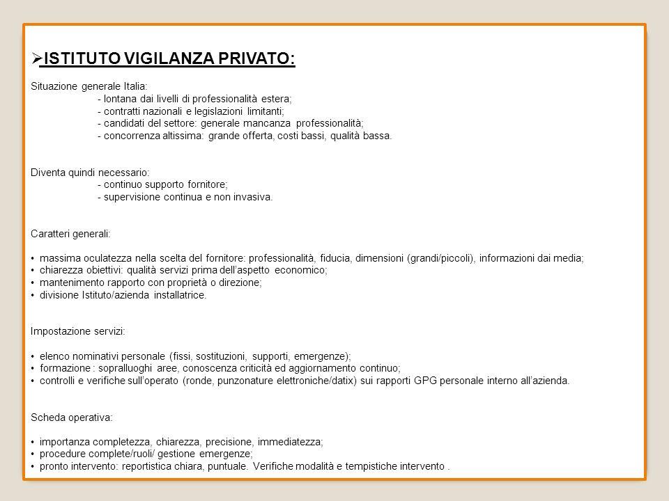 ISTITUTO VIGILANZA PRIVATO: