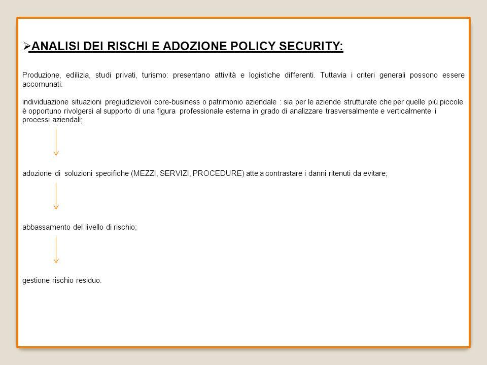 ANALISI DEI RISCHI E ADOZIONE POLICY SECURITY: