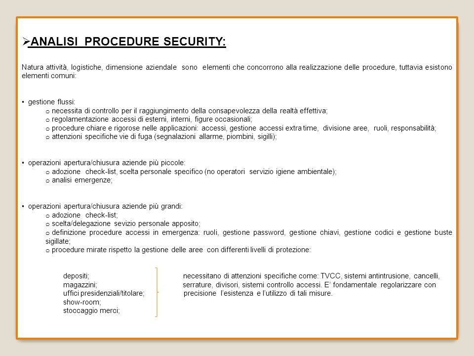 ANALISI PROCEDURE SECURITY: