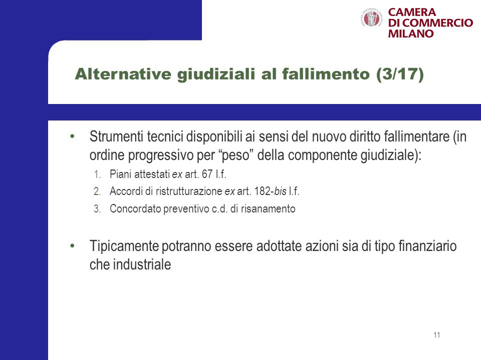 Alternative giudiziali al fallimento (3/17)