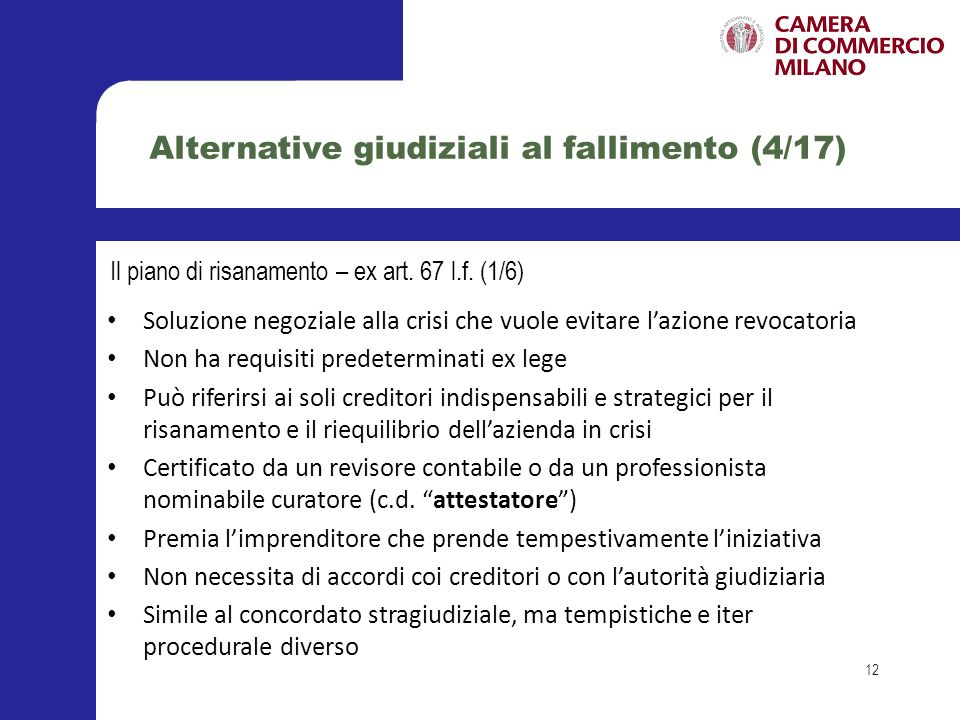 Alternative giudiziali al fallimento (4/17)