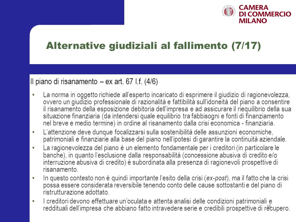 Alternative giudiziali al fallimento (7/17)