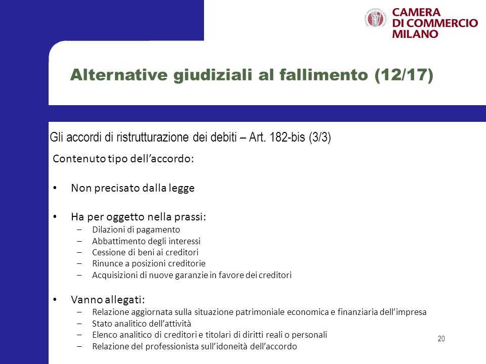 Alternative giudiziali al fallimento (12/17)