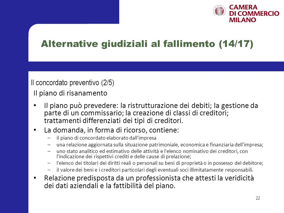 Alternative giudiziali al fallimento (14/17)
