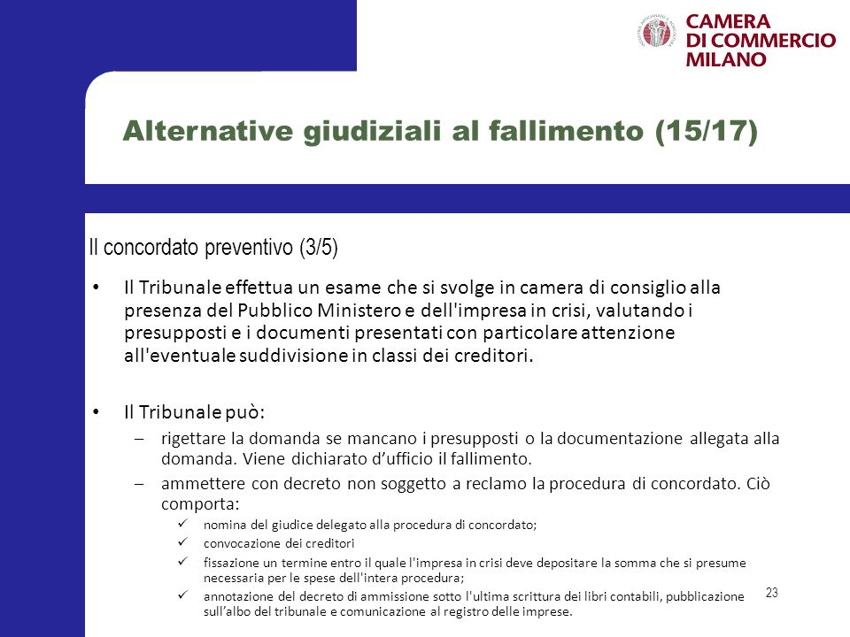 Alternative giudiziali al fallimento (15/17)