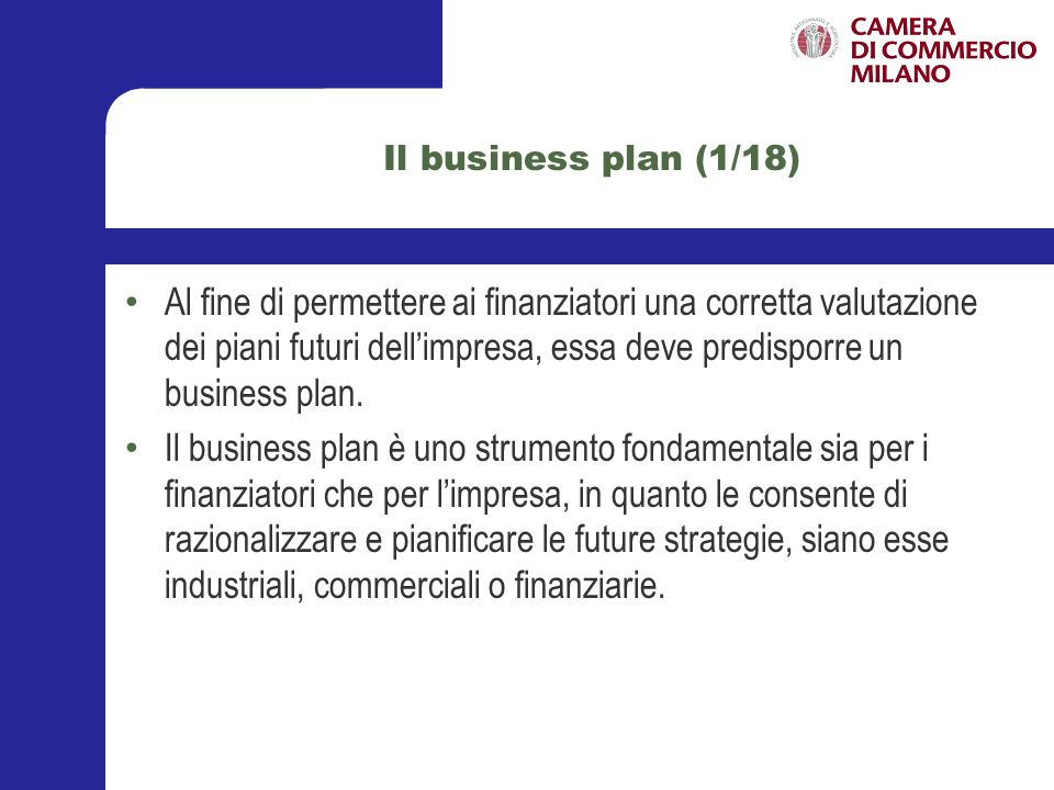 Il business plan (1/18)