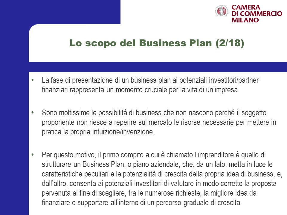 Lo scopo del Business Plan (2/18)