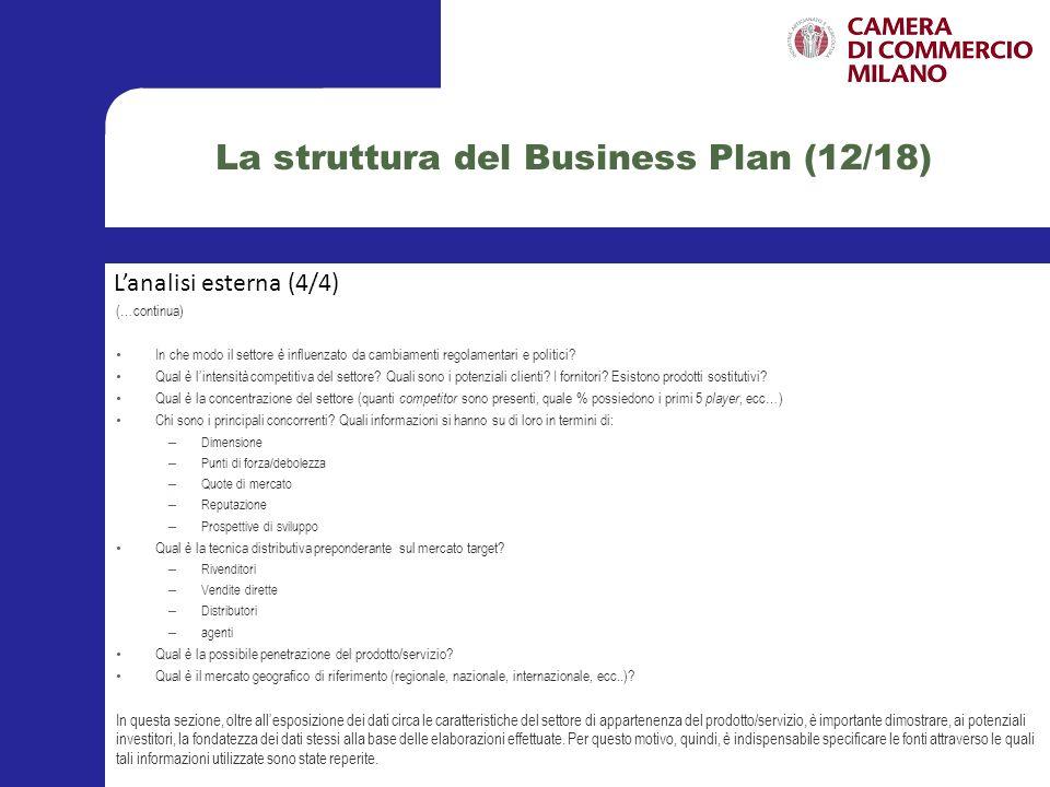 La struttura del Business Plan (12/18)