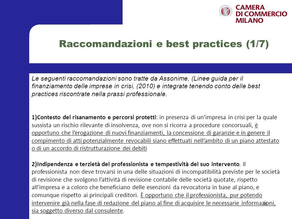 Raccomandazioni e best practices (1/7)