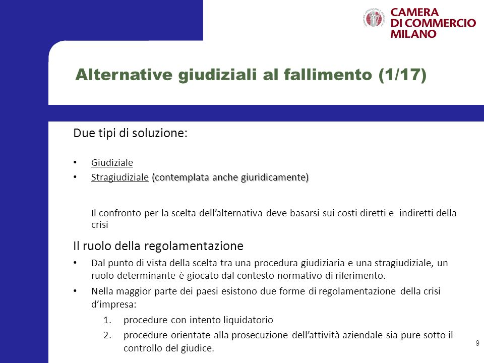 Alternative giudiziali al fallimento (1/17)