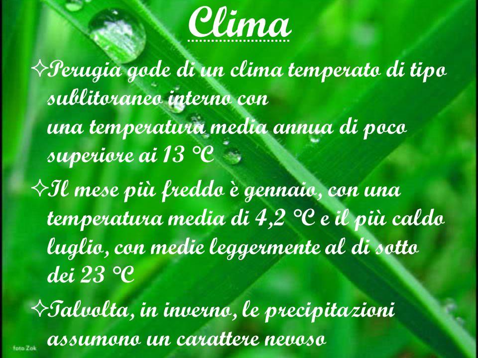 Clima Perugia gode di un clima temperato di tipo sublitoraneo interno con una temperatura media annua di poco superiore ai 13 °C.