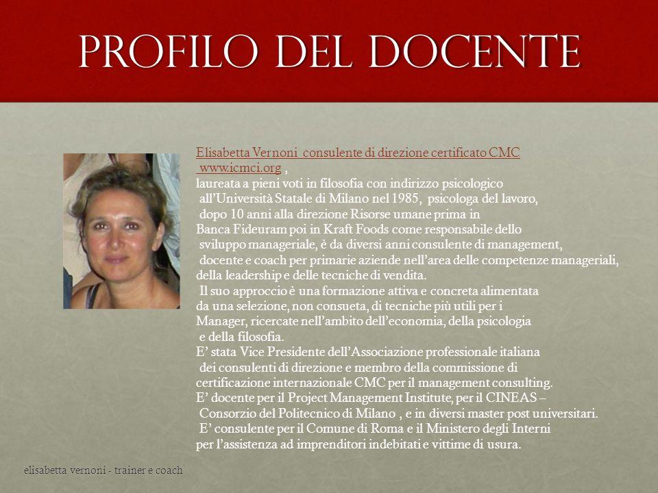 Profilo del docente Elisabetta Vernoni consulente di direzione certificato CMC. www.icmci.org ,