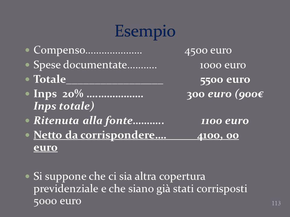 Esempio Compenso………………… 4500 euro Spese documentate……….. 1000 euro