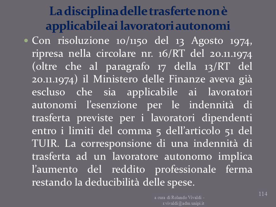 La disciplina delle trasferte non è applicabile ai lavoratori autonomi