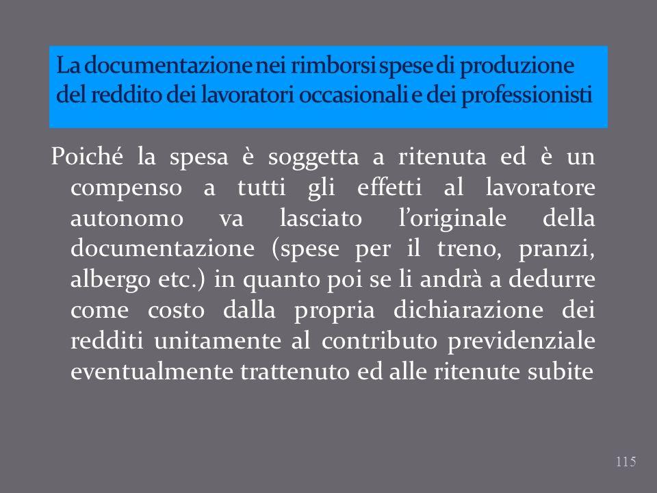 La documentazione nei rimborsi spese di produzione del reddito dei lavoratori occasionali e dei professionisti