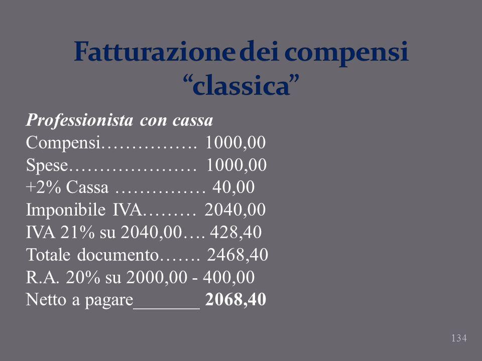 Fatturazione dei compensi classica