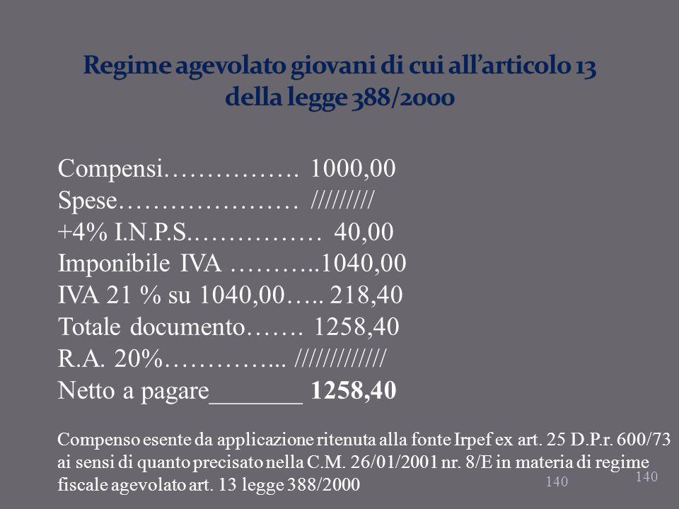 Regime agevolato giovani di cui all'articolo 13 della legge 388/2000