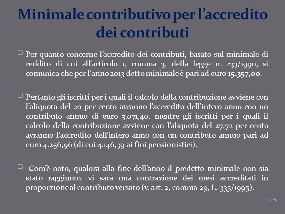 Minimale contributivo per l'accredito dei contributi
