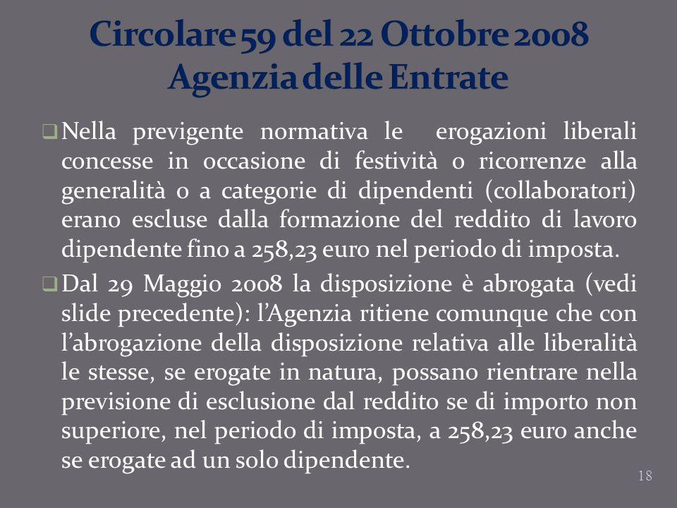 Circolare 59 del 22 Ottobre 2008 Agenzia delle Entrate