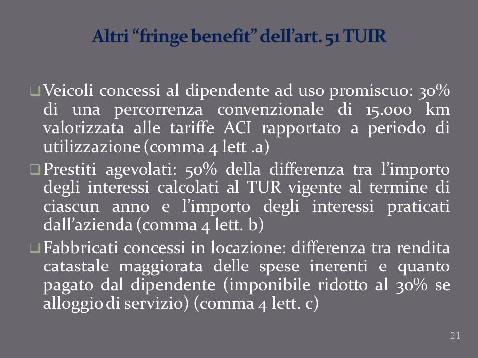 Altri fringe benefit dell'art. 51 TUIR