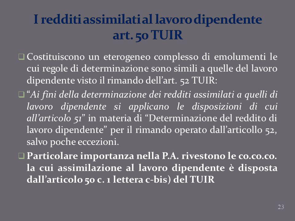 I redditi assimilati al lavoro dipendente art. 50 TUIR