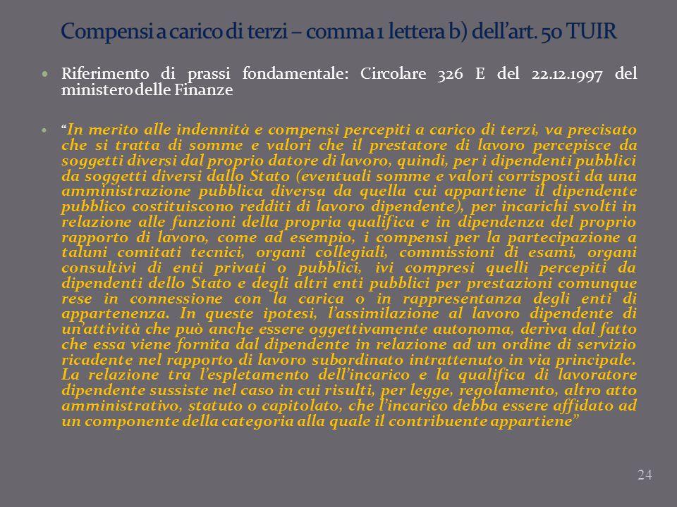 Compensi a carico di terzi – comma 1 lettera b) dell'art. 50 TUIR