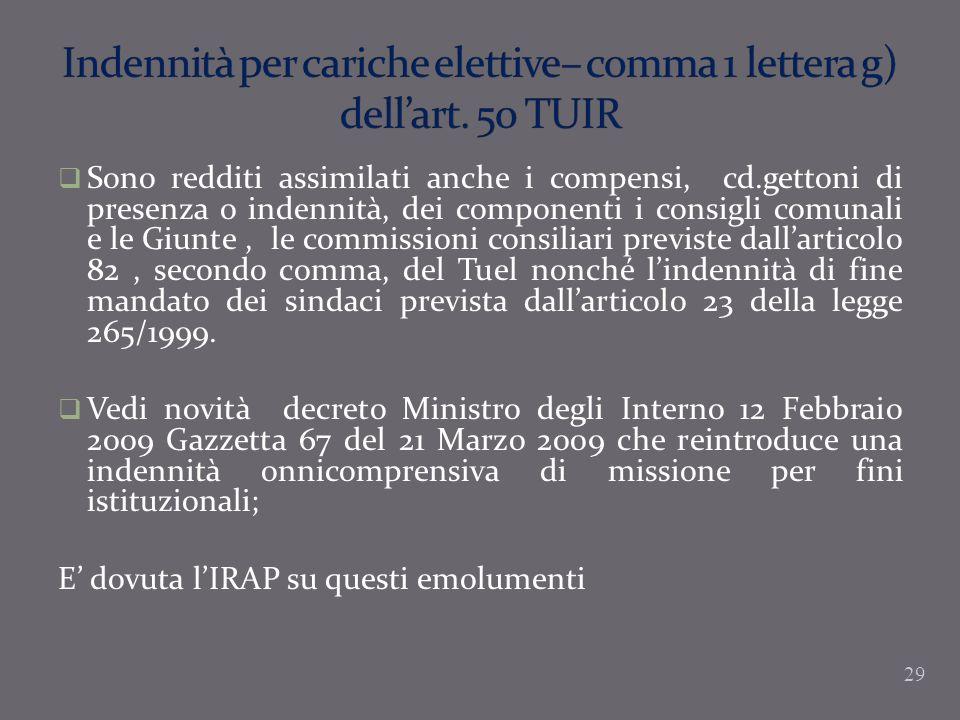 Indennità per cariche elettive– comma 1 lettera g) dell'art. 50 TUIR