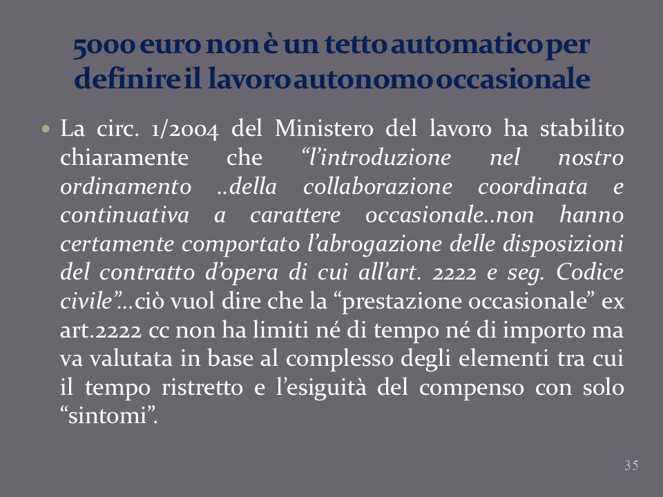 5000 euro non è un tetto automatico per definire il lavoro autonomo occasionale