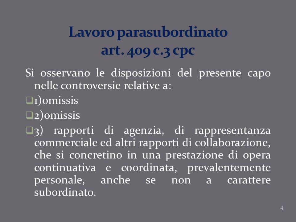 Lavoro parasubordinato art. 409 c.3 cpc