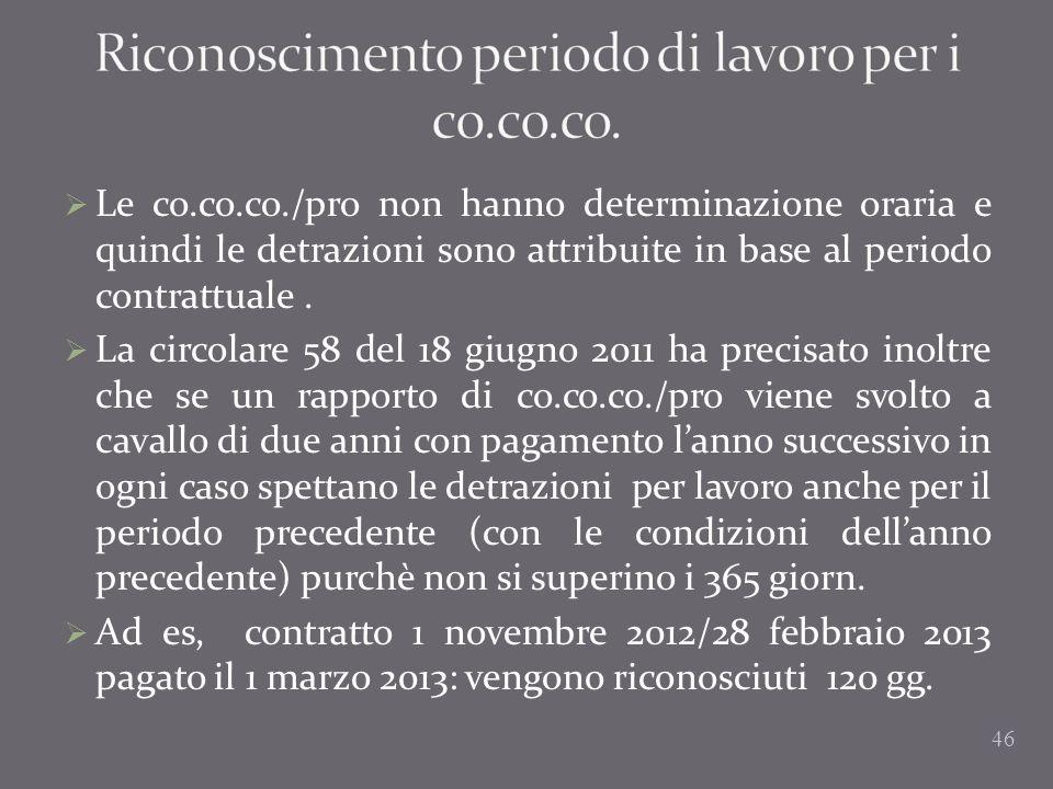 Riconoscimento periodo di lavoro per i co.co.co.