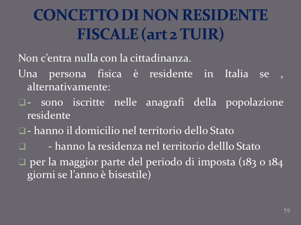 CONCETTO DI NON RESIDENTE FISCALE (art 2 TUIR)