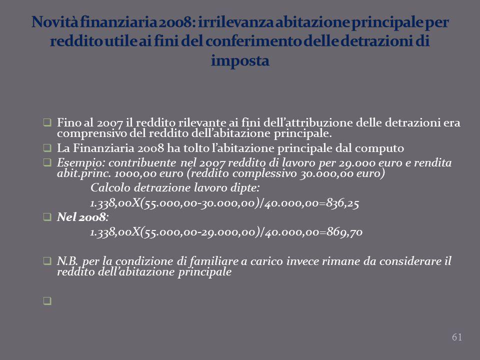 Novità finanziaria 2008: irrilevanza abitazione principale per reddito utile ai fini del conferimento delle detrazioni di imposta