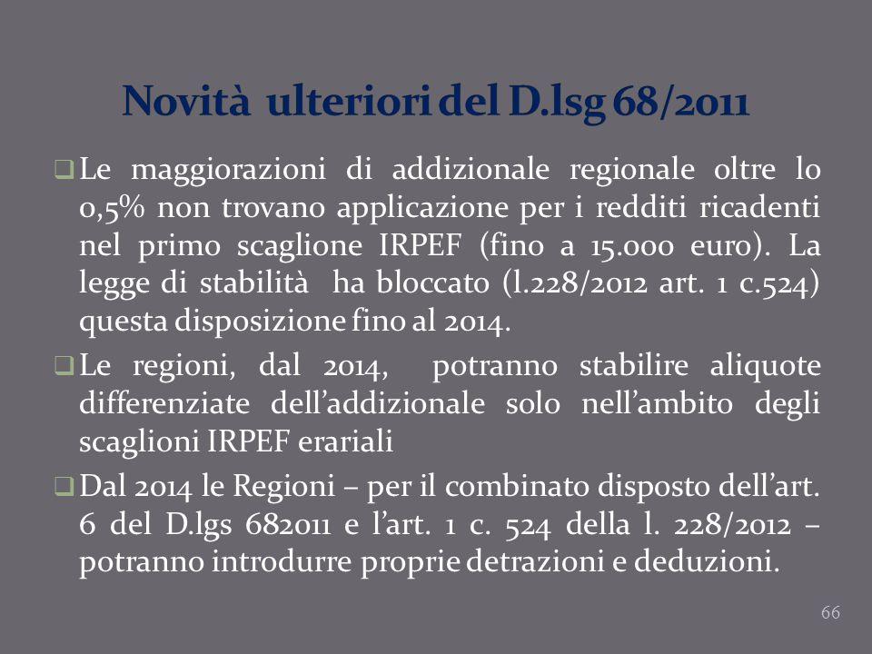 Novità ulteriori del D.lsg 68/2011