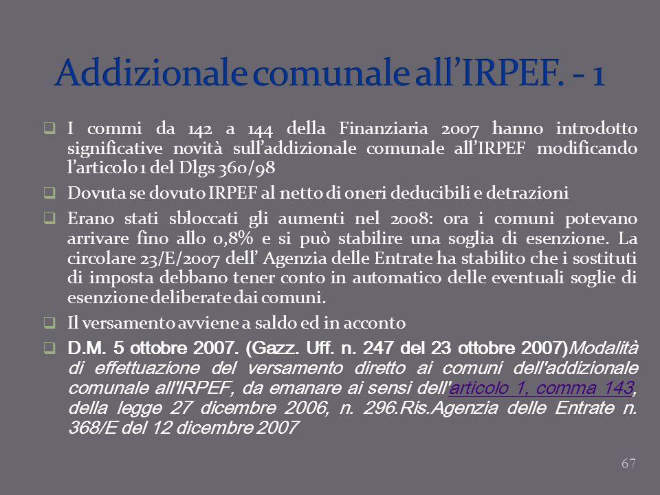 Addizionale comunale all'IRPEF. - 1