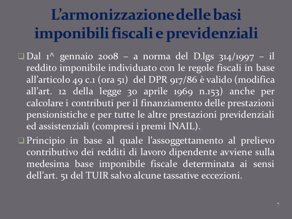 L'armonizzazione delle basi imponibili fiscali e previdenziali